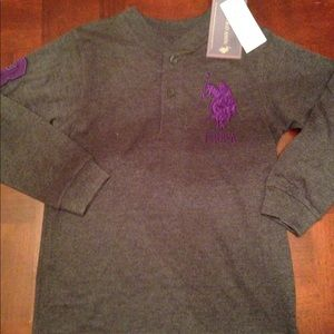 NWT Boys US Polo Assn. Grey & Purple Sz 5/6